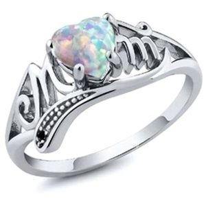 Love AAA Opal Heart Mom Platinum Cocktail Ring